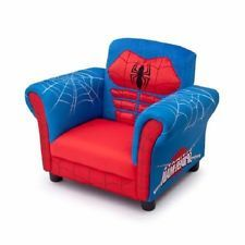 Upholstered Chair Bedroom Kids Spiderman Figural Lounger Relax NEW