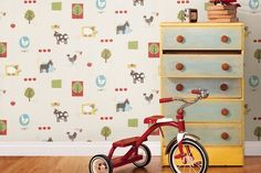 Farm friends are waiting to greet your child in the playful design of the Brewster On The Farm Patchwork Farm Wallpaper . Kids Bedroom Wallpaper, Home Wallpaper, Unique Wallpaper, Custom Wallpaper, Wallpaper Designs, Wildlife Wallpaper, Animal Wallpaper, Brewster Wallpaper, Brick Wallpaper
