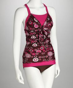 Take a look at this Divinita Sole Pink Starburst Bow Tie Tankini Top by Divinita Sole on #zulily today!