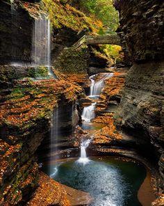 14 Beautiful Places Around the World - Rainbow Falls – Watkins Glen – New York, USA. Photo by Steve Perry