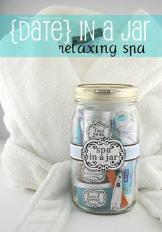 DIY Spa In A Jar plus links for homemade lavender bath salts, maple brown sugar scrub, sugar hand scrub, peppermint tea soak, and the free printable for the label.