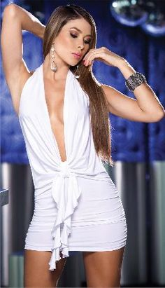 Espiral Lingerie Espiral 4070 White Clubwear Dress Stylish white dress with fitted mini skirt, ruching on side for added volume and open back for added sass. The top front features a V-neckline which goes down to the waistline and is finished with a d http://www.MightGet.com/january-2017-12/espiral-lingerie-espiral-4070-white-clubwear-dress.asp