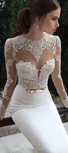 Gorgeous Lace Wedding Dress, love the top design!
