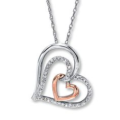 Diamond Heart Necklace 1/5 Carat tw Sterling Silver/10K Gold