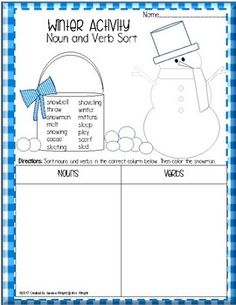 FREE:  Fun winter worksheet that can help students have fun while sorting nouns and verbs.  Then they can color the snowman!If you download this free item, please take the time to leave feedback.  CLICK THE GREEN STAR next to my store logo to follow me and to receive upcoming sales, freebie and product launches, and email updates!