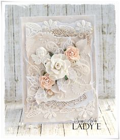 Peach and cream shabby chic card :) - Scrapbook.com