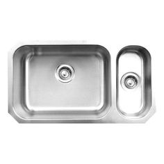 Whitehaus Collection Noah's Collection Undermount Brushed Stainless Steel 32 in. Double Bowl Kitchen Sink