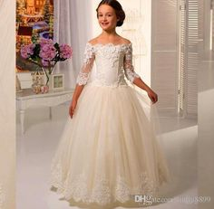 Hot Sale Scoop Lace Applique A Line Full Length Tulle Long Sleeves Flower Girl Dresses For Weddings First Communion Dress Gowns Flower Girl Shoes Ivory Flowergirl From Liuliu8899, $140.96| Dhgate.Com