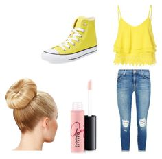 """""""Yellow"""" by katmac2005 ❤ liked on Polyvore featuring beauty, Glamorous, J Brand, Converse and MAC Cosmetics"""