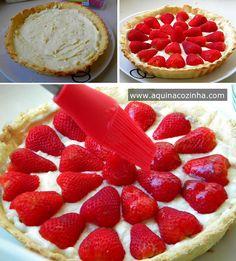 Veja como é fácil fazer aquela tradicional Torta de Morango, ela tem algumas etapas, mas não é difícil, vem no post ver.