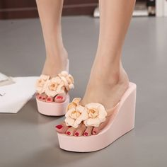 Cheap slippers stylish, Buy Quality slipper table directly from China women moccasin slippers Suppliers: 2016 New fashion summer 11cm high heels women  Rubber flip flops female platform wedges slippers girl's beach sandals sh