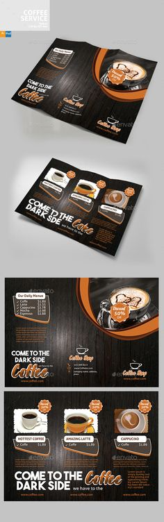 Buy Coffee Brochure by Designcrew on GraphicRiver. Coffee Brochure fully editable in illustrator and Photoshop Source: Ai, Eps, Psd Size: 210 by 297 Bleed: Travel Brochure Template, Brochure Design, Menu Design, Print Design, Graphic Design, Menu Printing, Restaurant Flyer, Illustrator Cs6, Shops