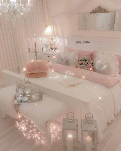 21 Cozy Decor Ideas With Bedroom String Lights is part of Girly Room Decor Ideas - Mesmerizing decoration ideas with bedroom string lights can be found in our photo gallery Discover our ideas for interior and exterior and get inspired Girly Bedroom Decor, Cute Bedroom Ideas, Cute Room Decor, Girl Bedroom Designs, Bedroom Colors, Diy Home Decor Bedroom Girl, Wall Decor, Girl Bedroom Decorations, Girls Pink Bedroom Ideas