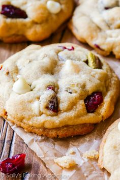 White Chocolate Cranberry Pistachio Cookies-- the secret's in the butter and cornstarch!