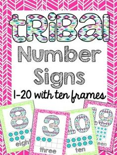 Tribal+/+Aztec+print+number+signs.+Numbers+1-20+are+included+with+ten+frames,+number+form+and+word+form+on+each+sign.+The+backgrounds+alternate+colors+for+even+and+odd+numbers.+Please+ask+any+questions+before+purchasing.+For+more+Tribal+Classroom+products+look+in+my+tpt+store!+