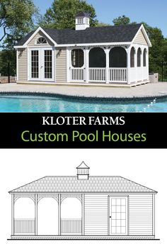 Bring us your ideas and together we'll create your perfect outdoor oasis! #kloterfarms #poolhouse #poolshed Gazebo, Pergola, Pool Shed, Custom Pools, Shed Design, Built In Storage, Pool Houses, Patio Ideas, Sheds