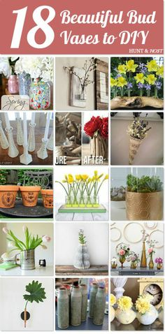 Bud vase roundup - check out this great group of ways to show of all the fresh flowers that are springing up everywhere right now! Bring the outdoors in! www.huntandhost.com