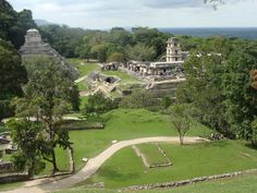 Palenque -The vista of the flat plains to the north, and the misty green of the lush mountain backdrop to the south