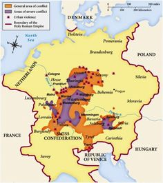 The Peasants' War of 1525 - have no idea if I have any family ties to this, pinning it any way just because I want to learn more about it. European History, World History, Family History, New Monarchy, German People, Holy Roman Empire, Landsknecht, City Maps, Historical Maps