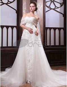Una línea de tren catedral satén tul vestido de novia