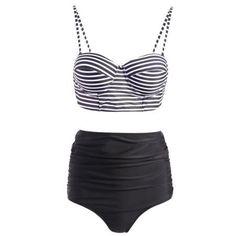 Spaghetti Strap Stripe Print Push-Up Swimsuit
