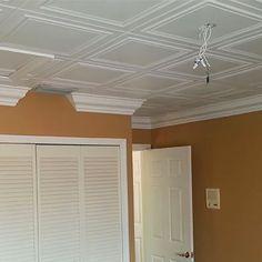 Drop Ceiling Panels, Metal Ceiling Tiles, Dropped Ceiling, Fabric Ceiling, Ceiling Grid, Cheap Ceiling Ideas, Patio Ceiling Ideas, Ceiling Decor, Styrofoam Ceiling Tiles