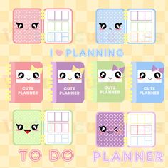 Kawaii Planner Clipart - Cute Planner Time, Printable Stickers, To Do, Scrapbook, EC Planner, Pastel, Fun, Free Commercial and Personal Use