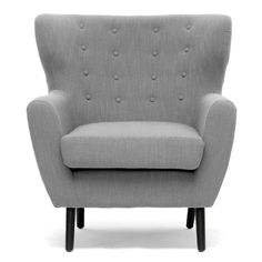 Moretti Light Grey Linen Modern Club Chair - Overstock Shopping - Great Deals on Baxton Studio Living Room Chairs