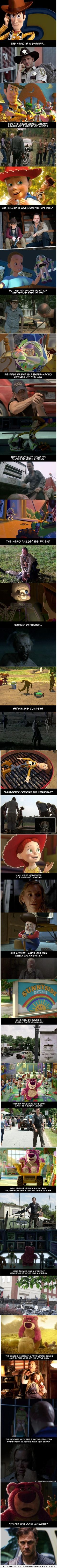Well holy crap. The Walking Dead is basically Toy Story. And by basically I mean the exact same thing. Lol #mindblown