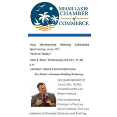 Our next membership meeting is scheduled for June 14. Please reserve today. Please visit the Miami Lakes Chamber of Commerce website to RSVP. #davilaland #engineer #landsurveyors #miamirealestate #homeinspection #chamberofcommerce #miamilakes
