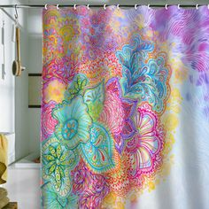 Stephanie Corfee flourish shower curtain - the bright doodle print would be a great (and inexpensive) way to add color to a little penguin's room (or a big penguin's room)