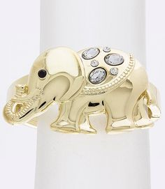 """Beautiful bracelet designed with an over-sized elephant (approximately 2 1/2"""" wide) on top adorned with a jet stone eye..."""