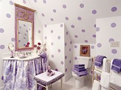 Lavender toile and dots - maybe my little girls bathroom some day :)