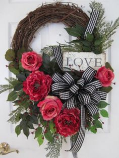 LOVE-Pink ROSES PEONIES Valentine 33-Inch Four Season Wreath-FREE SHIPPING!