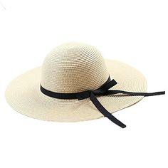 Chapeau de Paille Femme Eté Plage Pnama Solaire à Noeud Cheapeau Capeline de Soleil à Grande Visière Fille pour Vacances: chapeau de soleil…
