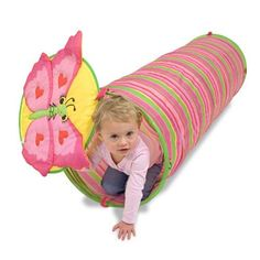 Active kids will enjoy crawling through this pretty Melissa and Doug Bella Butterfly Tunnel. Made of durable materials, it sets up quickly and folds easily for convenient storage. Perfect for indoor or outdoor play!