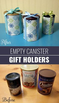 Empty Canister Gift Holders   DIY Gift Wrapping Ideas - How To Wrap A Present - Tutorials, Cool Ideas and Instructions   Cute Gift Wrap Ideas for Christmas, Birthdays and Holidays   Tips for Bows and Creative Wrapping Papers    Empty-Canister-Gift-Holders    http://diyjoy.com/how-to-wrap-a-gift-wrapping-ideas