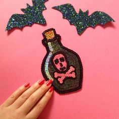 Poison Bottle Skull Crossbones Sequin Hand Embroidered Patch Appliqué. Meticulously hand embroidered with the best quality sequins and felt.