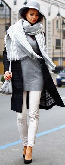 Dress-kot Gray, Black And White Fall Street Style Inspo                                                                             Source