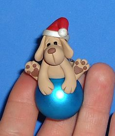 Polymer Clay Yellow Lab Dog on Glass Ornament