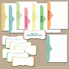 Freebie - Days of the Week Project Life Cards