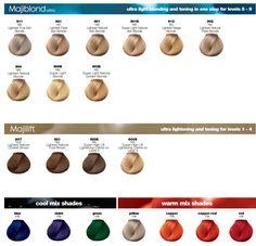 L 39 oreal professional majirel majiblond majirouge hair colour loreal 50ml w osy pinterest - Loreal salon colour chart ...