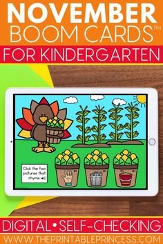 Help your students practice a variety of math and literacy Kindergarten skills while having fun with this Thanksgiving Boom Cards bundle! These digital task cards are great for learning at home or at school. Use them as reinforcement during distance learning or at a technology center in the classroom Kindergarten Math Activities, Kindergarten Classroom, Literacy, Number Recognition Activities, Cvc Word Families, Rhyming Words, First Grade Classroom, Learn To Read, Task Cards