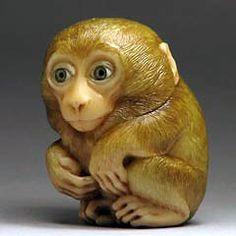 Monkey netsuke, carved from a tagua nut