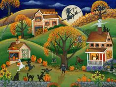 Halloween Folk Art Painting Autumn Harvest Pumpkin Fun - cherylbartleydesigns