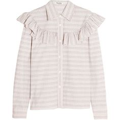 Miu Miu Ruffle-trimmed checked cotton-poplin shirt (350 KWD) ❤ liked on Polyvore featuring tops, ivory, pink ruffle top, ruffle top, pencil shirt, ruffle shirt and pink shirts