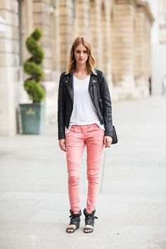 beautiful pink pants - like the structure and color contrast