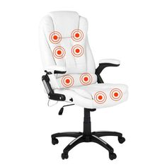 Swansea 8 Point Office Massage Chair - White | Milan Direct
