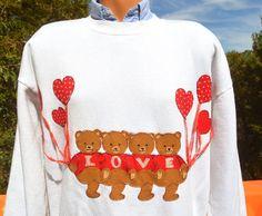 vintage 80's sweatshirt LOVE teddy bears hearts by skippyhaha, $27.00