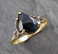 Partially faceted Montana Sapphire natural green sapphire gemstone Raw Rough Diamond 18k Yellow Gold Engagement multi stone 1069
